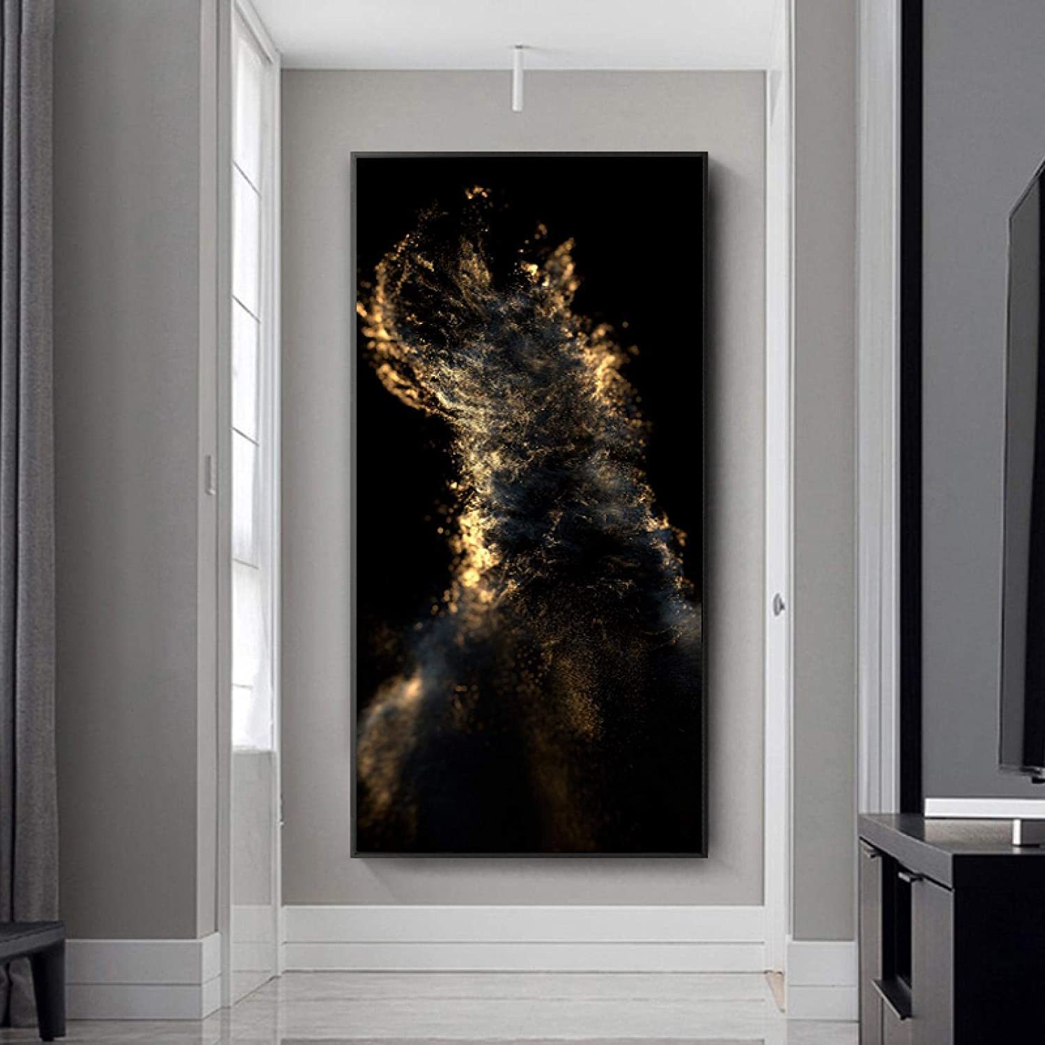 OFFer Sunsightly Canvas Wall Art Abstract trust Gold and Painti Black