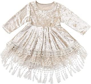 Girls Vintage Velvet Long Sleeve Dress Embroidered Lace Boho Dresses with Tassels Hem