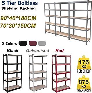 Estantería de almacenamiento para garaje de 5 niveles, 150 cm x 70 cm x 30 cm, capacidad de 875 kg por estante, estantes sin tornillos de acero y MDF, color rojo/negro/galvanizado, negro