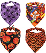 KZHAREEN 4 PCS/Pack Halloween Dog Bandana Reversible Triangle Bibs Scarf Accessories for Dogs Cats Pets