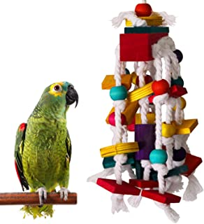 DoubleWood Bird Chewing Toys - Parrot Cage Bite Toys Wooden Block Bird Parrot Toys for Small and Medium Parrots and Birds