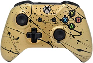 Hand Airbrushed Fade Xbox One Custom Controller Compatible with Xbox One (Gold W/Black Splatter)