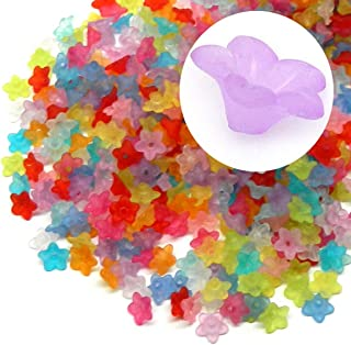 Rockin Beads Brand, 700 Frosted Mix Lily Flower Acrylic Beads Bead 10mm Also Used As Bead Caps