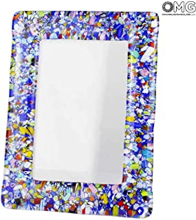 Original Murano Glass OMG Photo Frame Color Fantasy - Blue Glass Small - 20x15 cm 7.9 x 5.9 inc