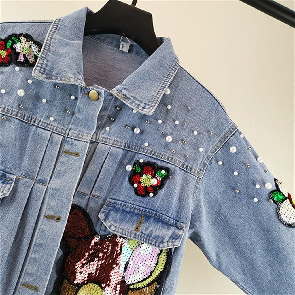 STRAW Autumn Women Denim Jacket Overcoat Sequins Beading Cartoon Jeans Jacket Vintage Casual Denim Coat Female Outwear Tops (Color : Blue, Size : XL Code)