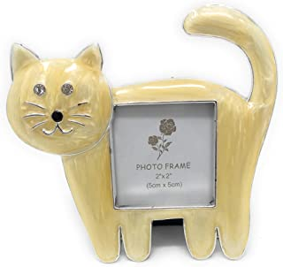 Kubla Crafts Enameled Kitty Cat Picture Frame, Holds Photo 2 Inches Wide x 2 Inches Tall, Accented with Austrian Crystals