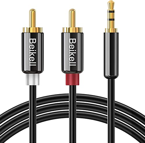 Beikell Câble RCA Jack Audio 2M, Stéréo Jack 3.5mm Mâle vers 2 RCA Mâle Y Auxiliaire Audio Câble pour Téléphone/iPhon...