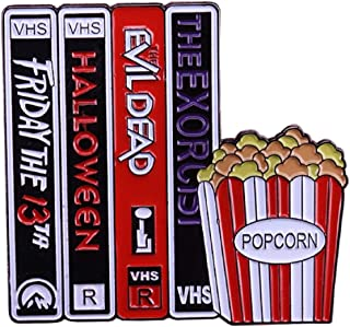 New Horizons Production Classic Horror Movies VHS Tapes 1 Inch Tall Metal Enamel Pin
