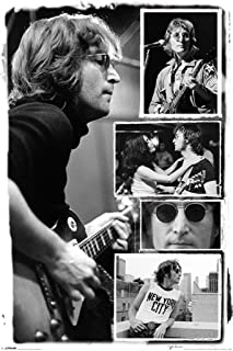 Pyramid America John Lennon Black and White Music Photo Collage Cool Wall Decor Art Print Poster 24x36