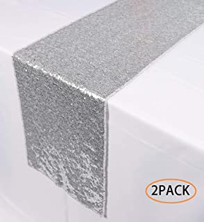 N&Y HOME 2 Pack Silver Sequin Table Runners 12 x 72 inch, Glitter Sequin Runner for Wedding, Birthday, Party, Baby Shower Decorations, Celebrations and Events