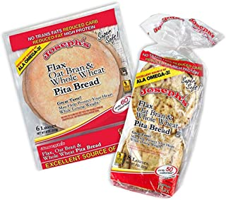 Pita Bundle: Joseph's Flax Oat Bran & Whole Wheat Reduced Carb Low Carb Pita Bread and Mini Pita Bread, Includes Low Carb Diet Recipe