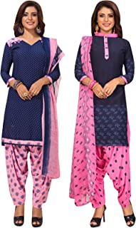 S Salwar Studio Women's Pack of 2 Synthetic Printed Unstitched Dress Material Combo-MONSOON-2880-2883