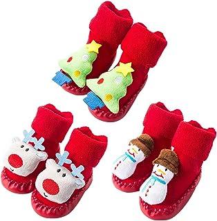 JUSTDOLIFT 3 Pares de Calcetines de bebé Calcetines de Dibujos Animados Lindo bebé Caminando Calcetines Calcetines de bebé para la Navidad