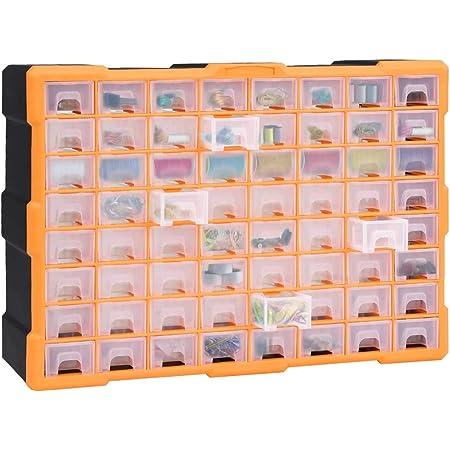 Festnight Módulo Clasificador para Piezas Pequeñas, 64 Cajones Extraíbles, Cajas de Almacenamiento, Módulos Organizador, Ideal Ferretería & Bricolaje, 52 x 16 x 37,5 cm,Naranja y Negro