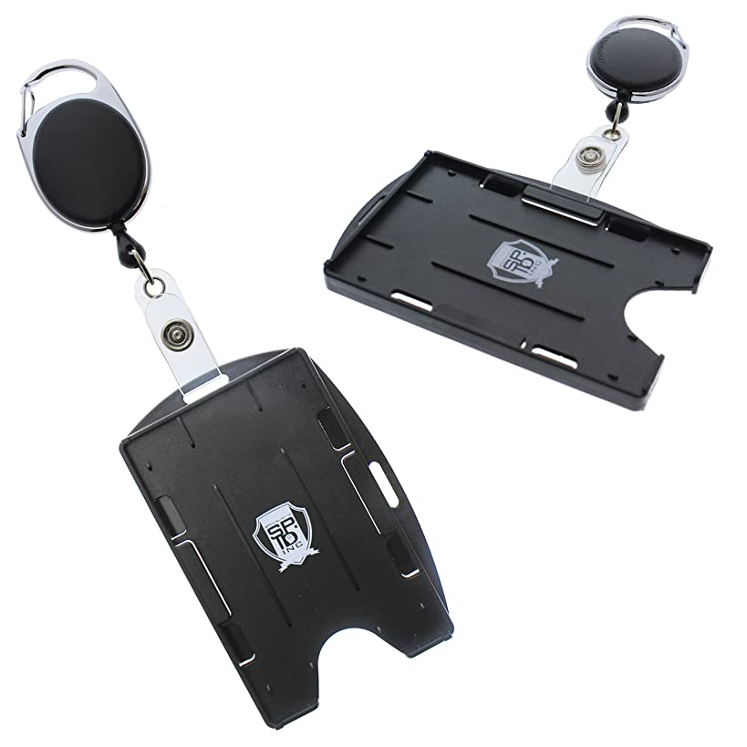 2 Pack - Premium Two Card Badge Holder - Vertical or Horizontal - with Retractable Carabiner Badge Reel by Specialist ID (Black)