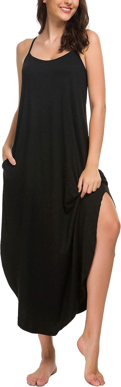 AVIIER Long Nightgowns for Women Sleeveless Full Slip Night Dress Cotton Chemise Dresses