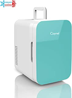 Caynel Mini Fridge Cooler and Warmer, (6 Liter / 8 Can) Portable Compact Personal Fridge, AC/DC Thermoelectric System, 100% Freon-Free Eco Friendly for Home, Office and Car, Includes 100-Pcs Stickers