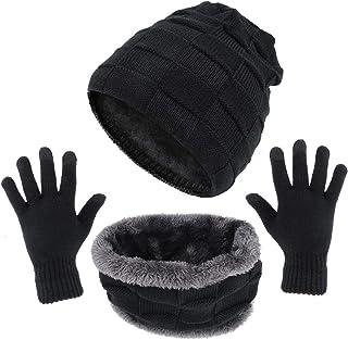 QKURT Damenm/ütze Schal Handschuhe Satz Touchscreen Handschuhe Pom Pom M/ütze Schal f/ür M/ädchen