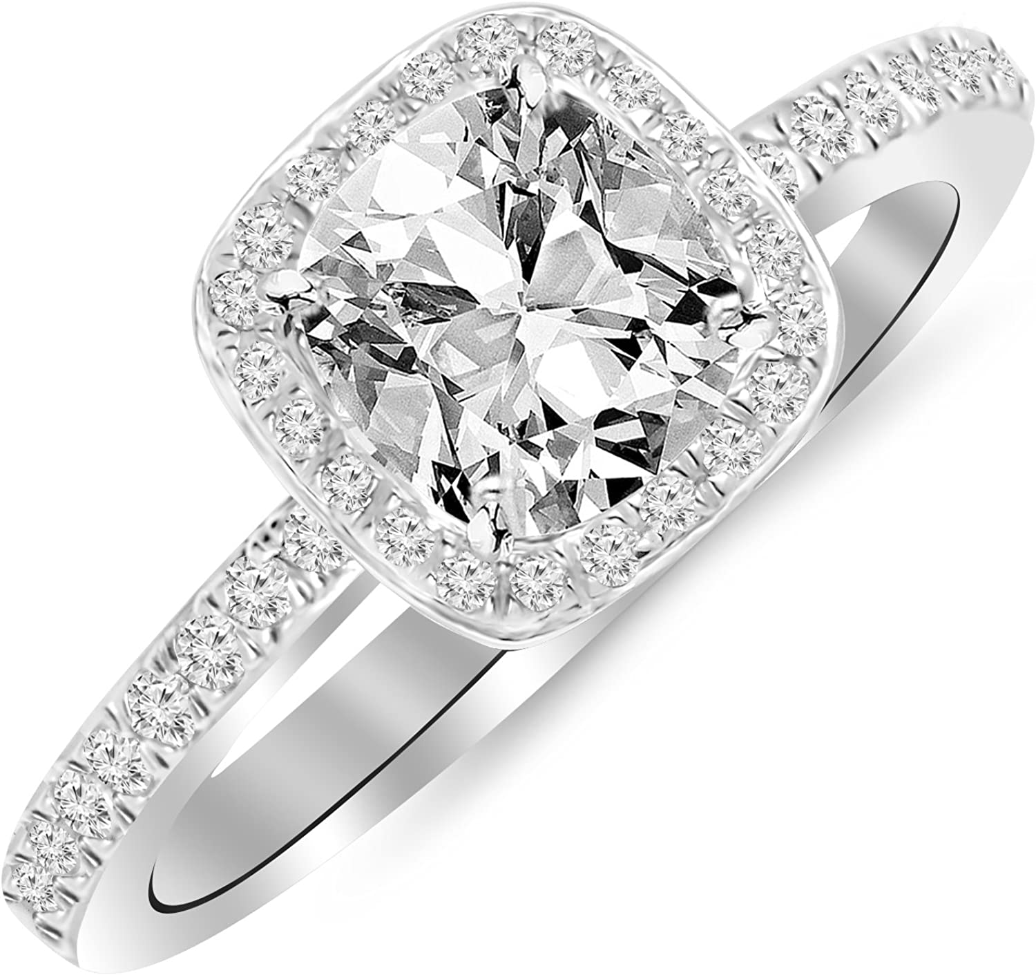 1 Carat t.w. 14K White Gold Classic Halo Style Cushion Shape Diamond Engagement Ring with a 3/4 Ct Forever Brilliant Cushion Moissanite Center