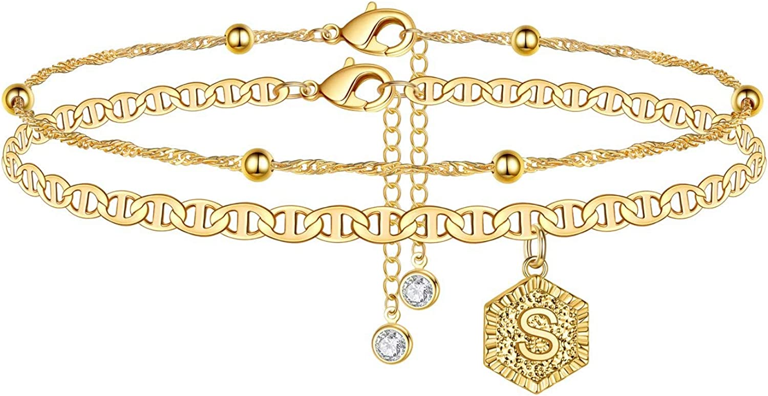 IEFSHINY Ankle Bracelets for Women Initial Anklet, 2pcs Mariner Chain Layered 14K Gold Plated Letter Anklet Initials Cute Summer Anklets Ankle Gold Anklets Bracelets for Women Girls