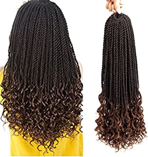 VRUnique 6 pack (20Inch, 1B/30) Ombre Goddess Senegal Twist Crochet Braids Hair With Curly Wave Ends Synthetic Kanekalon Fiber Braiding Hair High Temperature Hair Extensions 30 Strands/Packs