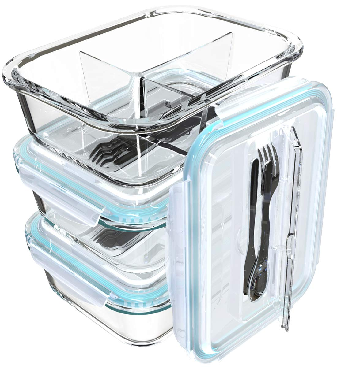 3 Pack Glass Meal Containers Compartment