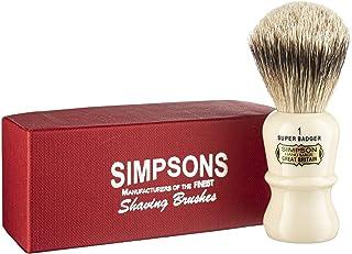 Emperor Super Badger Brush- Simpson Shaving Brushes - Faux Ivory Handle (1 Super)