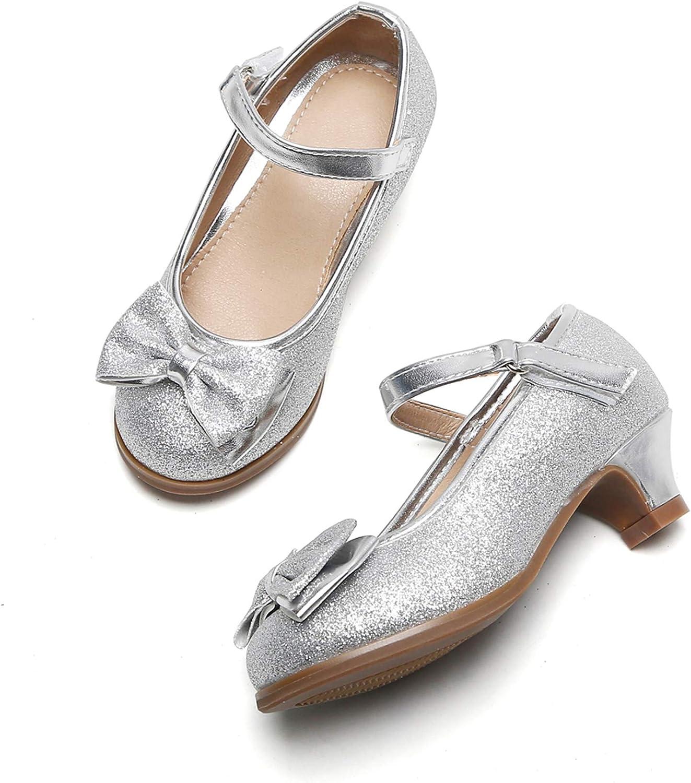 Felix & Flora Girls Mary Jane Glitter Shoes Low Heel Princess Flower Wedding Party Dress Pump Shoes for Kids Toddler