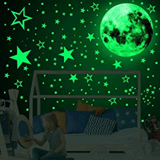 Home-Mart 3D Glow in The Dark Stickers, 435pcs Luminous Dots Stars and Moon DIY Wall Stickers for Ceiling Or Walls, Glow B...