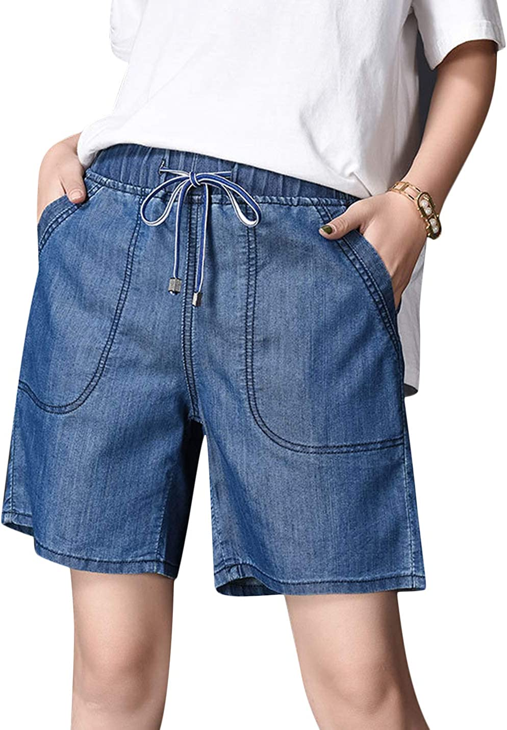 Uaneo Women's Spring High Elastic Waist Bow Knot Denim Shorts with Pockets (Dark Blue, X-Small)