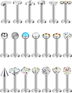 Blulu 20 Pieces 16G Stainless Steel Nose Studs Nose Lips...
