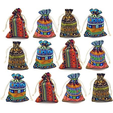 Wedding Favor Sacks Party Gift Bags 24pcs-Asst ~Natural /& Dark Burlap Organza bags -3x5 wDrawstring Vintage Gift Bags Jute Party Bags