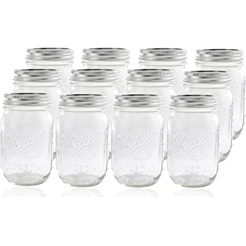 Ball Glass Mason Jar with Lid and Band, Regular Mouth, 12 Jars