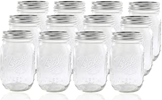 Ball Glass Mason Jar with Lid and Band, Regular Mouth, 12 Jars