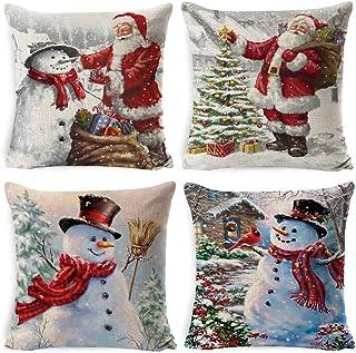 YUESEN Fundas Navideñas para Cojines 4PCS Árbol de Navidad Reno del Copo de Nieve Decoración para el Hogar Fundas de Almohada de Lino Funda de Almohada Decorativa de Navidad Casa