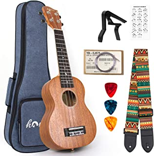 Ukulele Mahogany Ukelele Ukele for Professional Player Beginners Uke Starter Kit with Carring Gig Bag Strap Strings Capo P...