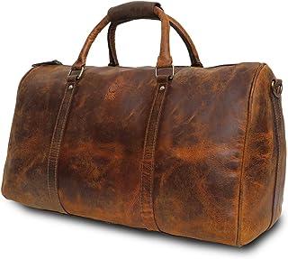 Rustic Town groß Leder Reisetasche - Carry On Vintage Umhängetasche Duffel Bag Weekender Tasche für Herren und Damen Braun