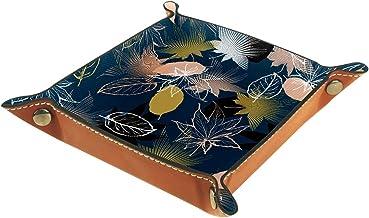 KAMEARI Skórzana taca ciemnoniebieska liść klonu klucz telefon moneta pudełko skóra bydlęca taca na monety praktyczne pude...