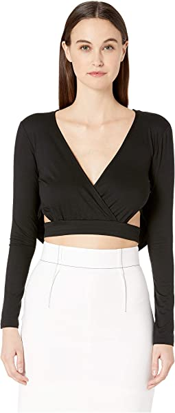 Deep V Long Sleeved Crop Top with Draped Low Back