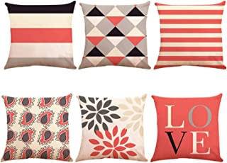 Decorative Throw Pillow Covers 18 x 18 Inch Double Side Design,ZUEXT Set of 6 Geometric Cotton Linen Indoor Outdoor Pillow Case Cushion Cover for Car Sofa Home Decor(Coral Navy Love New Living Series)