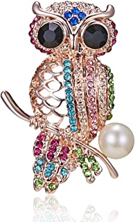 AILUOR Cute Black Eyed Owl Brooch Pin, Elegant Vintage Rhinestone Crystal Pearls Enamel Gold Animal Lapel Pin Corsage for Women Girl