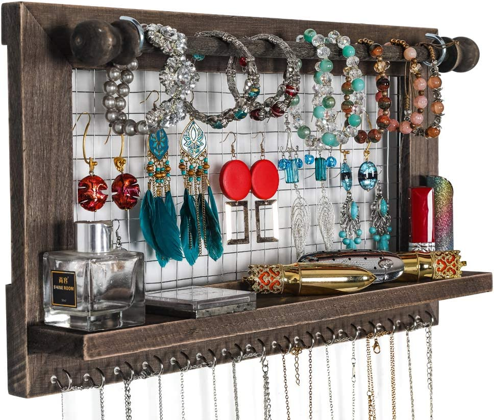 Recommendation Rustic Brown Wall Industry No. 1 Mounted Jewelry Wood Shabby Organizer Chic Wa