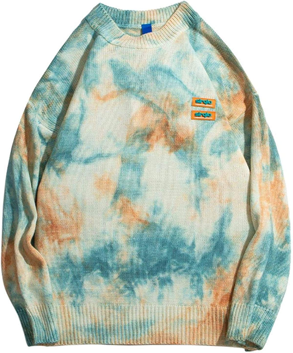 WSBD Men Knitted Jumper Pull Sweaters Tie Dye Design Streetwear Fashion Casual Pullovers