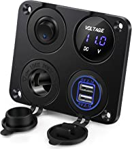 Kohree 12V Charger Socket Panel, Security 4 in 1 Multifunctional Waterproof Marine Rocker Toggle Switch Panel with Dual USB Charger Socket 12 Volt Marine USB Power Outlet for Boat RV Car Motorcycle