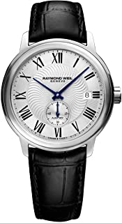 Raymond Weil Men's Maestro Stainless Steel Swiss-Automatic Watch with Leather Calfskin Strap, Black, 20 (Model: 2238-STC-0...