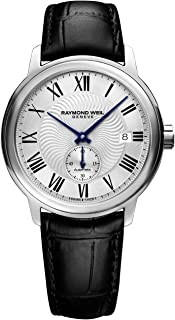 Men's Maestro Stainless Steel Swiss-Automatic Watch with Leather Calfskin Strap, Black, 20 (Model: 2238-STC-00659)