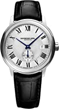 Raymond Weil Men's Maestro Stainless Steel Swiss-Automatic Watch with Leather Calfskin Strap, Black, 20 (Model: 2238-STC-00659)
