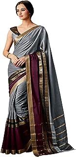 Anni Designer Women's Silver Color Art Silk Printed Saree With Blouse Piece(CHARMI-SILVER_Free Size)