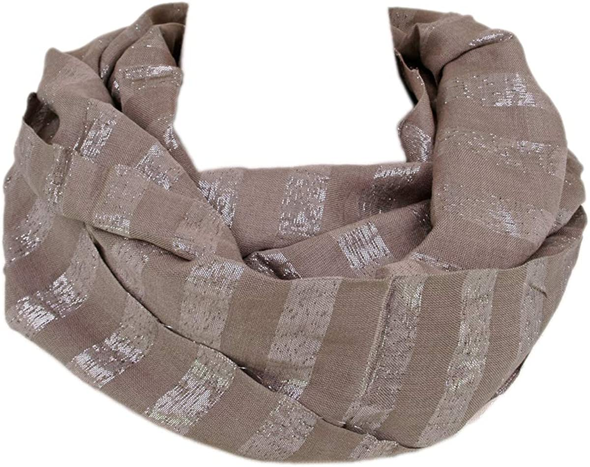 Premium Striped Glitter Infinity Loop Fashion Scarf - Diff Colors Avail