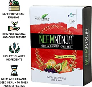 NeemTree Neem Ninja - 5 Pounds - All Natural Neem Cake Fertilizer, Organic Farming Neem and Karanja Seed Meal For Indoor and Outdoor Plants - 100 Percent Pure Cold Pressed
